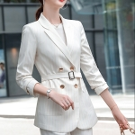 Business Wear Fashion Casual Suit Work Clothes Suit, Style: Coat + Pants (Color:White Size:XXXL)