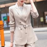 Business Wear Fashion Casual Suit Work Clothes Suit, Style: Coat + Pants (Color:Apricot Size:S)
