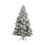 [US Warehouse] 7.5FT Indoor Christmas Holiday Decoration Artificial Snow Flocked Christmas Tree with 400 LED Lights