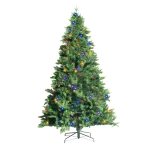 [US Warehouse] 7.5FT Indoor Christmas Holiday Decoration Artificial Foldable Stand Christmas Tree with 450 LED Lights
