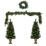 [US Warehouse] 4 In 1 Christmas Holiday Decoration Wreath + 180 Warm White LED Lights + Christmas Tree Set