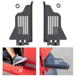 2 PCS XBL058 USA Flag Style Car Side Door Hinge Foot Pedal for Jeep Wrangler JK JKU JL JLU (2007-2020)(Black)
