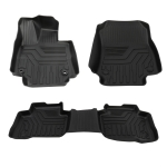 [US Warehouse] 3 PCS Floor Mat Black Rubber ALL Weather Liner for Tundra CrewMax / RAV4