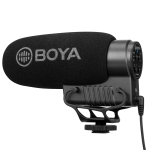BOYA BY-BM3051S Shotgun Super-cardioid Condenser Broadcast Microphone with Windshield for Canon / Nikon / Sony DSLR Cameras