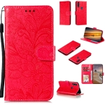 For Motorola Moto E (2020) / Moto E7 Lace Flower Horizontal Flip Leather Case with Holder & Card Slots & Wallet & Photo Frame(Red)
