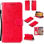 For Samsung Galaxy A01 Core Lace Flower Horizontal Flip Leather Case with Holder & Card Slots & Wallet & Photo Frame(Red)