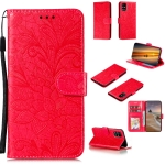 For Samsung Galaxy M31s Lace Flower Horizontal Flip Leather Case with Holder & Card Slots & Wallet & Photo Frame(Red)