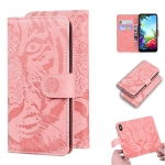 For LG K40S Tiger Embossing Pattern Horizontal Flip Leather Case with Holder & Card Slots & Wallet(Pink)