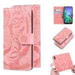 For LG K50 / Q60 Tiger Embossing Pattern Horizontal Flip Leather Case with Holder & Card Slots & Wallet(Pink)