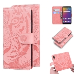 For LG Stylo 5 Tiger Embossing Pattern Horizontal Flip Leather Case with Holder & Card Slots & Wallet(Pink)