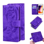 For iPhone 8 Plus / 7 Plus Tiger Embossing Pattern Horizontal Flip Leather Case with Holder & Card Slots & Wallet(Purple)
