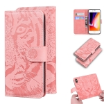 For iPhone SE 2020 / 8 / 7 Tiger Embossing Pattern Horizontal Flip Leather Case with Holder & Card Slots & Wallet(Pink)