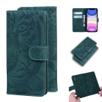 For iPhone 11 Tiger Embossing Pattern Horizontal Flip Leather Case with Holder & Card Slots & Wallet(Green)