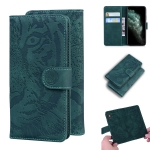 For iPhone 11 Pro Max Tiger Embossing Pattern Horizontal Flip Leather Case with Holder & Card Slots & Wallet(Green)