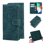 For iPhone XS / X Tiger Embossing Pattern Horizontal Flip Leather Case with Holder & Card Slots & Wallet(Green)