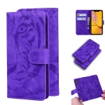 For iPhone XR Tiger Embossing Pattern Horizontal Flip Leather Case with Holder & Card Slots & Wallet(Purple)