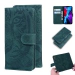 For iPhone 12 Tiger Embossing Pattern Horizontal Flip Leather Case with Holder & Card Slots & Wallet(Green)