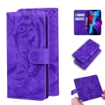 For iPhone 12 Max / 12 Pro Tiger Embossing Pattern Horizontal Flip Leather Case with Holder & Card Slots & Wallet(Purple)