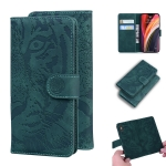 For iPhone 12 Pro Max Tiger Embossing Pattern Horizontal Flip Leather Case with Holder & Card Slots & Wallet(Green)
