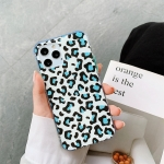 For iPhone 12 Leopard Print Shockproof TPU + Acrylic Protective Case with Detachable Buttons(Blue)