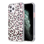 For iPhone 12 Leopard Print Shockproof TPU + Acrylic Protective Case with Detachable Buttons(Pink)