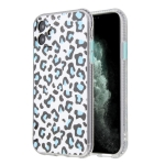 For iPhone 11 Pro Max Leopard Print Shockproof TPU + Acrylic Protective Case with Detachable Buttons(Blue)