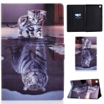 For Samsung Galaxy Tab A7 (2020) T500 Colored Drawing Pattern Voltage Horizontal Flip Black TPU + PU Leather Case with Holder & Card Slots & Anti-skid Strip & Sleep / Wake-up Function(Cat and Tiger)
