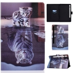 For Samsung Galaxy Tab S7 11.0 T870 Colored Drawing Pattern Voltage Horizontal Flip Black TPU + PU Leather Case with Holder & Card Slots & Anti-skid Strip & Sleep / Wake-up Function(Cat and Tiger)