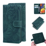 For Samsung Galaxy A50 / A30s Tiger Embossing Pattern Horizontal Flip Leather Case with Holder & Card Slots & Wallet(Green)