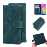 For Xiaomi Mi A3 / CC9e Tiger Embossing Pattern Horizontal Flip Leather Case with Holder & Card Slots & Wallet(Green)
