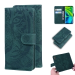 For Xiaomi Redmi CC9 Pro / Note10 / Note 10 Pro Tiger Embossing Pattern Horizontal Flip Leather Case with Holder & Card Slots & Wallet(Green)