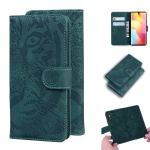 For Xiaomi Redmi Note 10 Lite Tiger Embossing Pattern Horizontal Flip Leather Case with Holder & Card Slots & Wallet(Green)