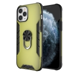 For iPhone 12 Pro Max Magnetic Frosted PC + Matte TPU Shockproof Case with Ring Holder(Olive Yellow)