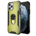 For iPhone 12 Pro Magnetic Frosted PC + Matte TPU Shockproof Case with Ring Holder(Olive Yellow)