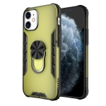 For iPhone 12 Magnetic Frosted PC + Matte TPU Shockproof Case with Ring Holder(Olive Yellow)