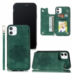 For iPhone 12 / 12 Pro Mandala Embossed PU + TPU Case with Holder & Card Slots & Photo Frame & Hand Strap(Green)
