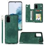 For Samsung Galaxy S20 FE Mandala Embossed PU + TPU Case with Holder & Card Slots & Photo Frame & Hand Strap(Green)