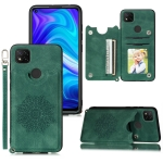 For Xiaomi Redmi 9C Mandala Embossed PU + TPU Case with Holder & Card Slots & Photo Frame & Hand Strap(Green)