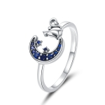 S925 Sterling Silver Moon Cat Women Open Ring