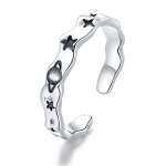 S925 Sterling Silver Romantic Planet Stars Women Open Ring