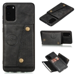 For Samsung Galaxy S20 FE Double Buckle PU + TPU Shockproof Magnetic Protective Case with Card Slot & Holder(Black)