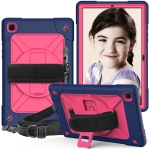 For Samsung Galaxy Tab A7 10.4 (2020) T500/T505 Contrast Color Robot Shockproof Silicone + PC Protective Case with Holder(Navy Blue Rose)