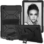 For Samsung Galaxy Tab A7 10.4 (2020) T500/T505 Contrast Color Robot Shockproof Silicone + PC Protective Case with Holder(Black)