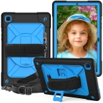 For Samsung Galaxy Tab A7 10.4 (2020) T500/T505 Contrast Color Robot Shockproof Silicone + PC Protective Case with Holder(Black Blue)