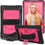 For Samsung Galaxy Tab A7 10.4 (2020) T500/T505 Contrast Color Robot Shockproof Silicone + PC Protective Case with Holder(Black Rose Red)