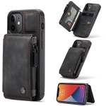 CaseMe C20 Multifunctional PC + TPU Protective Case with Holder & Card Slot & Wallet For iPhone 12 mini(Black)