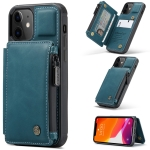 CaseMe C20 Multifunctional PC + TPU Protective Case with Holder & Card Slot & Wallet For iPhone 12 / 12 Pro(Blue)
