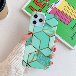 Plating Splicing Pattern Soft TPU Protective Case for iPhone 11(Green Lattice)