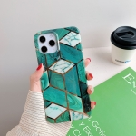 Plating Splicing Pattern Soft TPU Protective Case for iPhone 11(Dark Green Lattice)