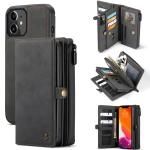 CaseMe 018 Detachable Multi-functional Horizontal Flip Leather Case, with Card Slot & Holder & Zipper Wallet & Photo Frame For iPhone 12 mini(Black)